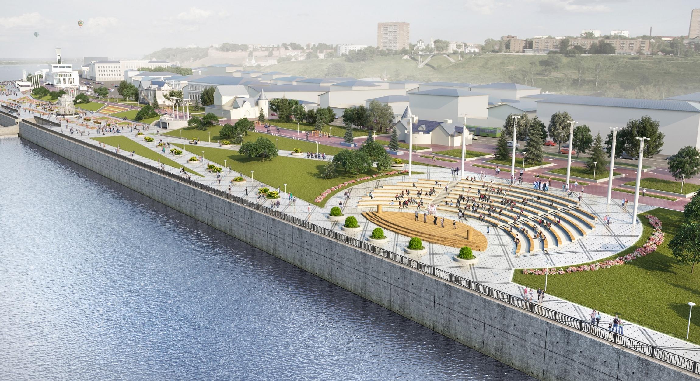 Проект Нижне-Волжской набережной, общий вид после двух этапов реконструкции - фото