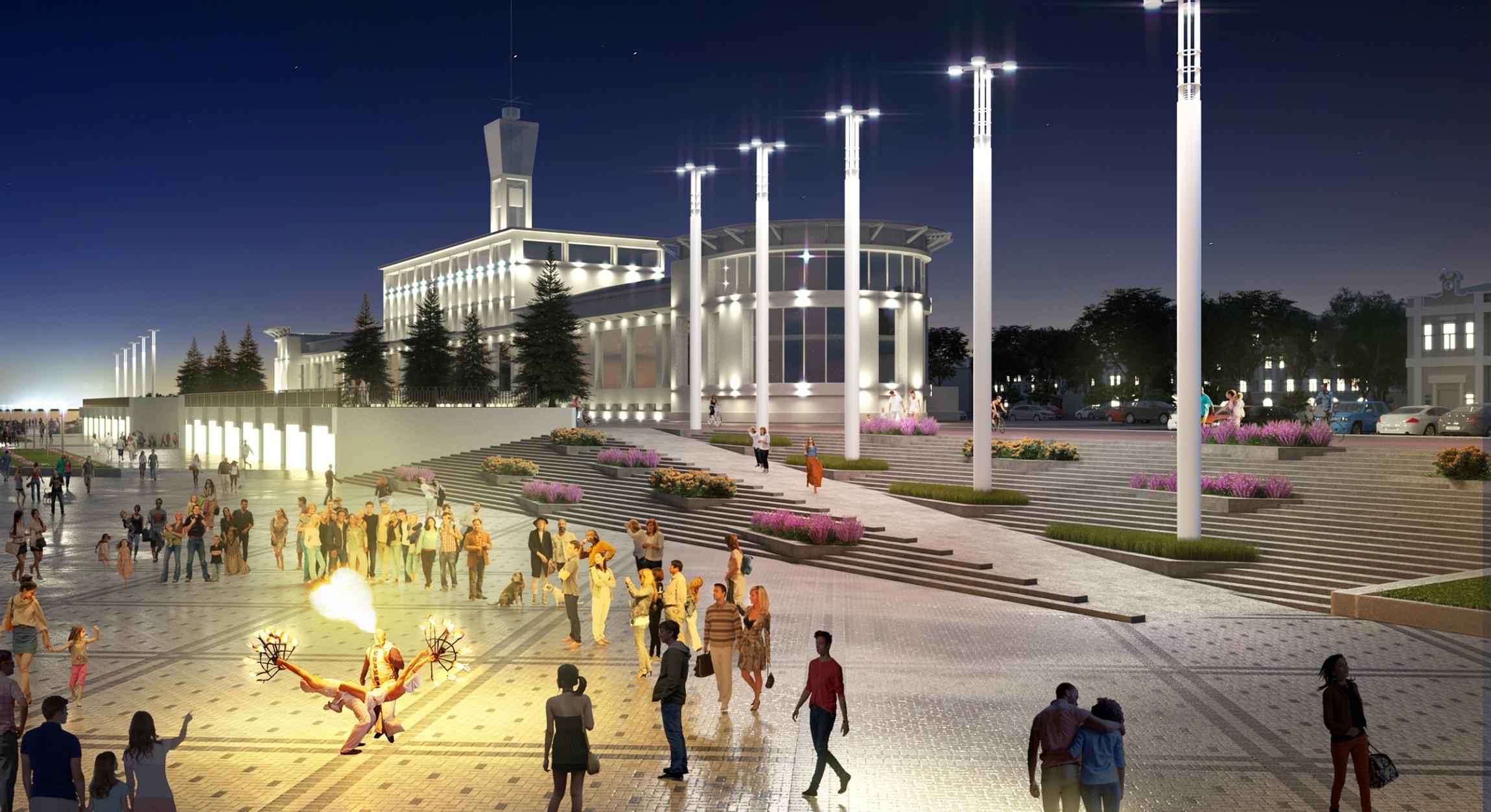 Проект набережной, территория около речного вокзала - фото