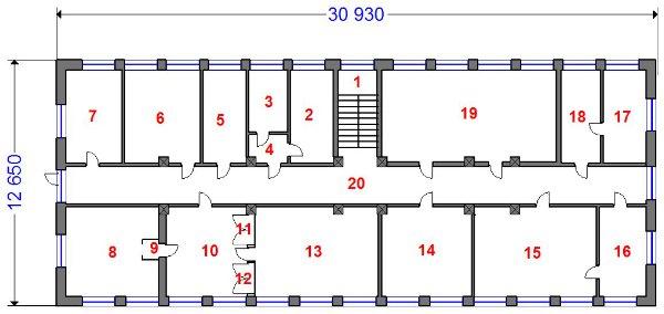 Продаю административное здание площадью 741.2 кв.м в Приокском районе - план 2-го этажа