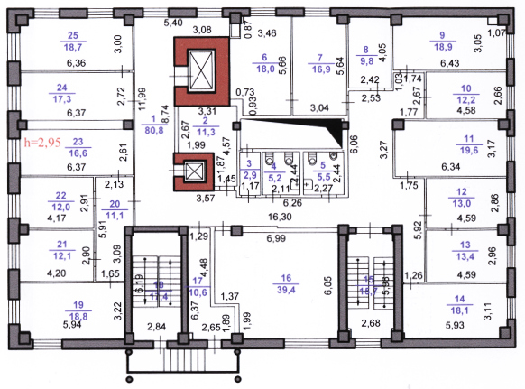 Продажа здания пл. 2000 кв.м и земельного участка 4000 кв.м. в Нижнем Новгороде - план типового этажа