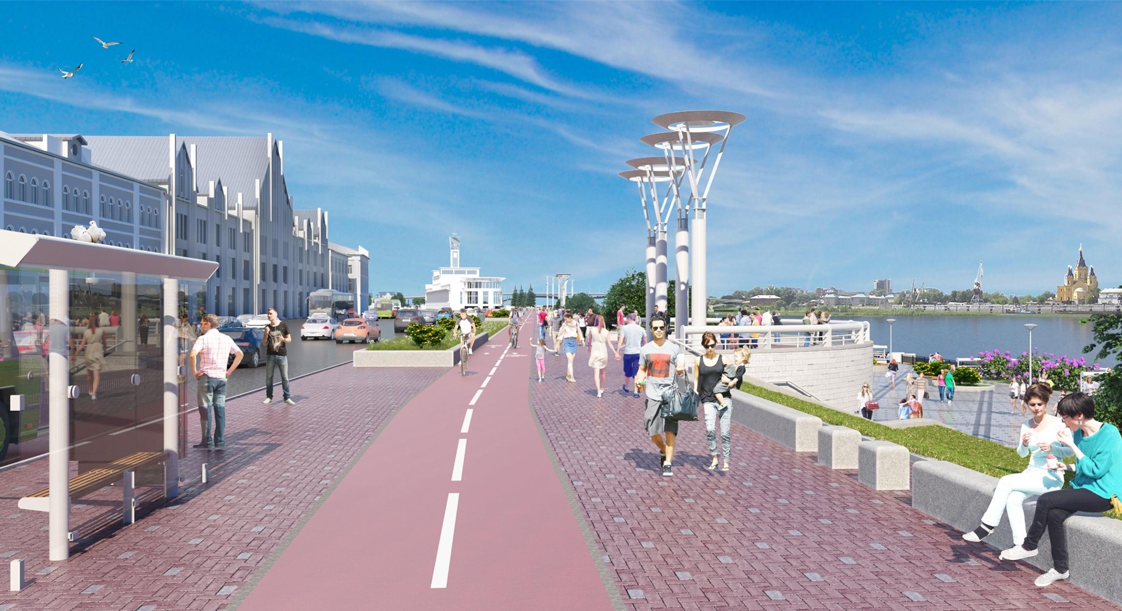 Проект Нижне-Волжской набережной, вид на Стрелку - фото